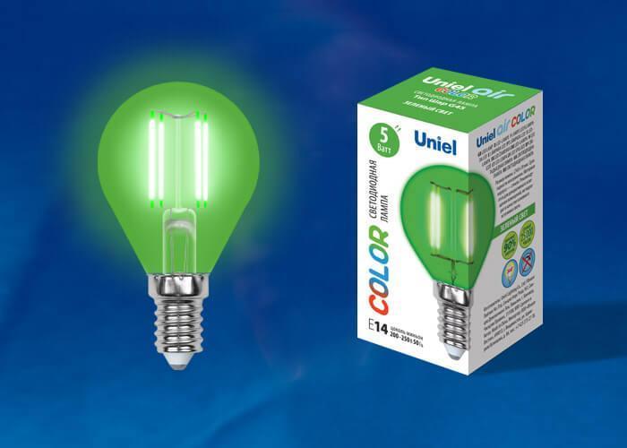 Лампа светодиодная (UL-00002987) E14 5W зеленый LED-G45-5W/GREEN/E14 GLA02GR