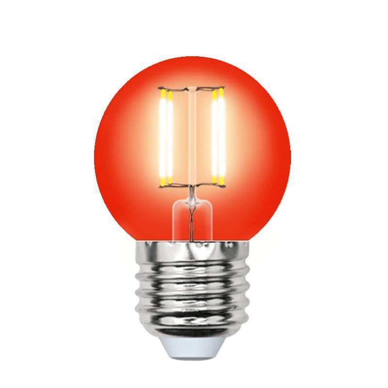 Лампа светодиодная (UL-00002986) E27 5W красный LED-G45-5W/RED/E27 GLA02RD