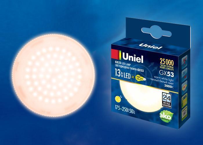 Лампа светодиодная (UL-00003724) Uniel GX53 13W 3000K матовая LED-GX53-13W/WW/GX53/FR PLZ01WH