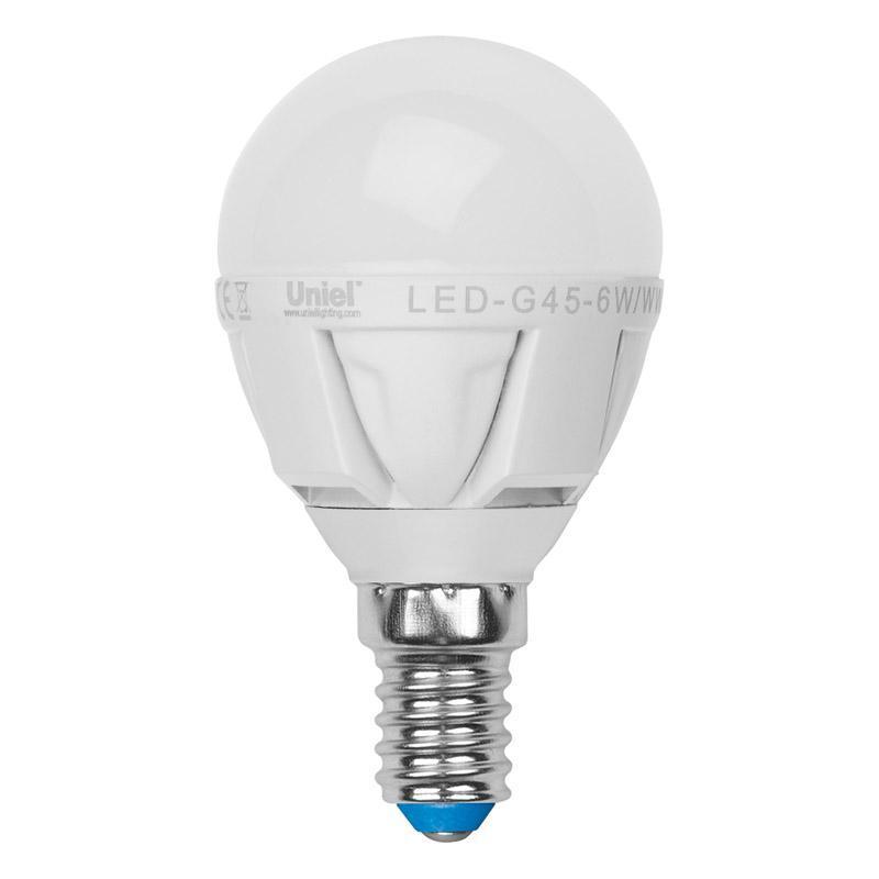 Лампа светодиодная (07903) E14 6W 4500K матовая LED-G45-6W/NW/E14/FR ALP01WH