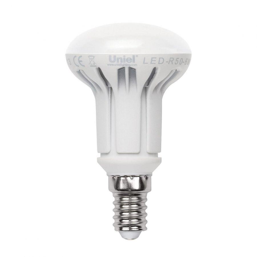 Лампа светодиодная рефлекторная (UL-00000934) Uniel E14 6W 4500K матовая LED-R50-6W/NW/E14/FR/DIM PLP01WH