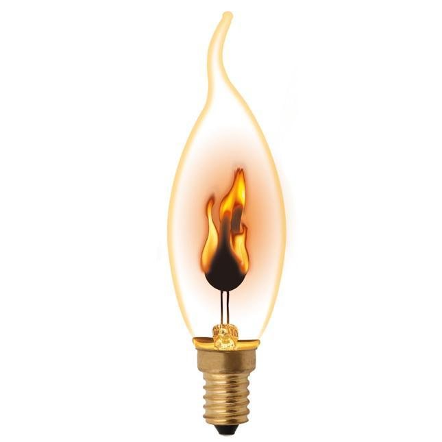 Лампа декоративная (UL-00002982) Uniel E14 3W золотистая IL-N-CW35-3/RED-FLAME/E14/CL