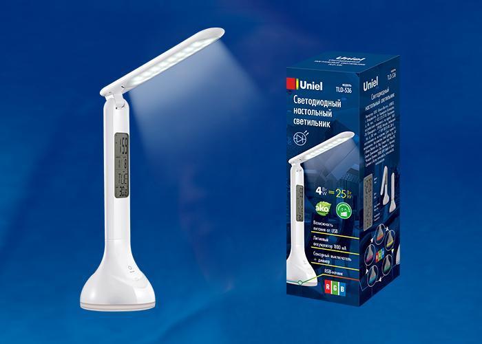 Настольная лампа (UL-00001497) Uniel TLD-536 White/LED/250Lm/5500K/Dimmer