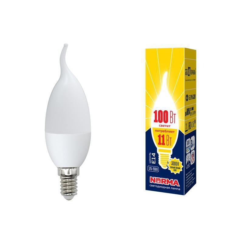 Лампа светодиодная (UL-00003817) E14 11W 3000K матовая LED-CW37-11W/WW/E14/FR/NR