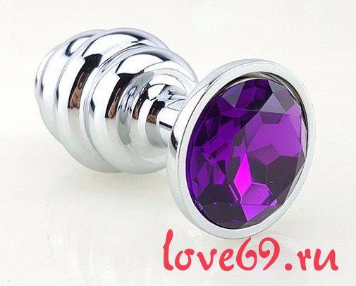 Серебристая рифлёная пробка с фиолетовым кристаллом - 9 см.