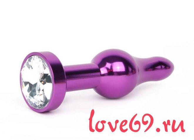 Удлиненная шарикообразная фиолетовая анальная втулка с прозрачным кристаллом - 10,3 см.
