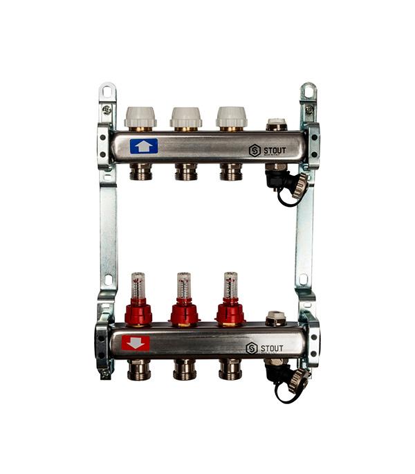 """Коллектор из нержавеющей стали 1""""х3/4""""х11 с расходомерами, с клапаном вып. воздуха и сливом 2 вых."""