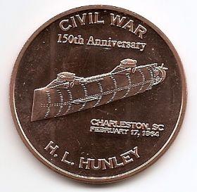 Субмарина конфедератов Ханли США Монетовидный жетон
