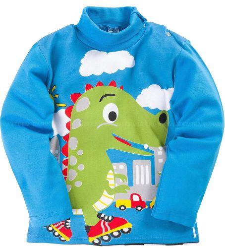 Водолазка для мальчиков 1-4 лет Bonito голубая с динозавриком