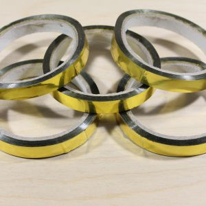 Тейп-лента 12 мм металлизированная, цвет золото (1 упаковка = 5 шт)