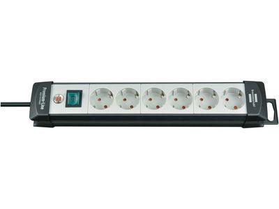 Удлинитель Brennenstuhl Premium-Line с выключателем, 6 розеток; 5 метров, черный/серый, кабель H05VV-F 3G1,5 (1951560101)