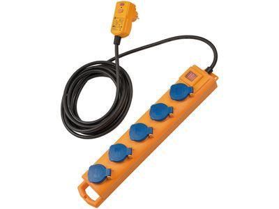 Удлинитель с УЗО Brennenstuhl Super-Solid SL 544 D FI, 5 розеток; IP54, 5 метров; кабель H07RN-F 3G1.5 (1159900805)