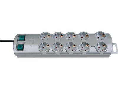 Удлинитель Brennenstuhl Primera-Line 10 розеток, 2 метра, 2 выключателя, кабель H05VV-F 3G1,5; серый (1153390120)