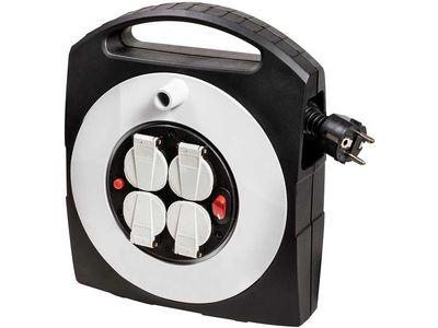 Удлинитель на катушке бытовой Brennenstuhl Primera-Line Box-S 10 м., 4 розетки, кабель H05VV-F 3G1,5; черно-серый, IP20, с выключателем (1095650)
