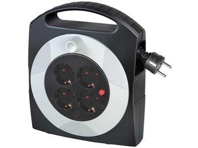 Удлинитель на катушке бытовой Brennenstuhl Primera-Line Box-S 10 метров, 4 розетки, кабель H05VV-F 3G1,5; черно-серый, IP20 (1095450)