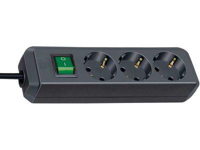 Удлинитель Brennenstuhl Eco-Line 3 розетки; 3 метра; черный; с выключателем, кабель H05VV-F 3G1,5 (1152300400)