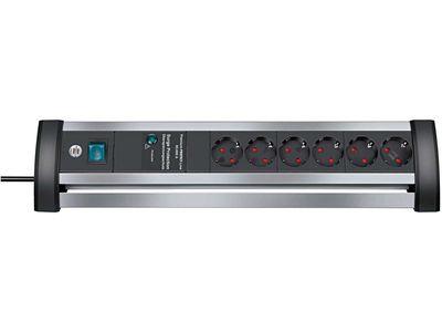 Сетевой фильтр Brennenstuhl Alu-Office-Line 60 000 А; 6 розеток, 3 метра; серебристый/черный, кабель H05VV-F 3G1,5 (1395000416)