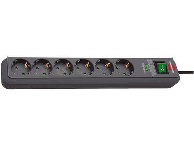 Сетевой фильтр Brennenstuhl Eco-Line 13500 А, 6 розеток, 1,5 метра, антрацит, кабель H05VV-F 3G1,5 (1159710)