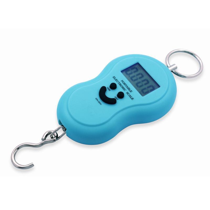 Электронный безмен с металлическим кольцом Portable, 50 кг., Цвет Голубой