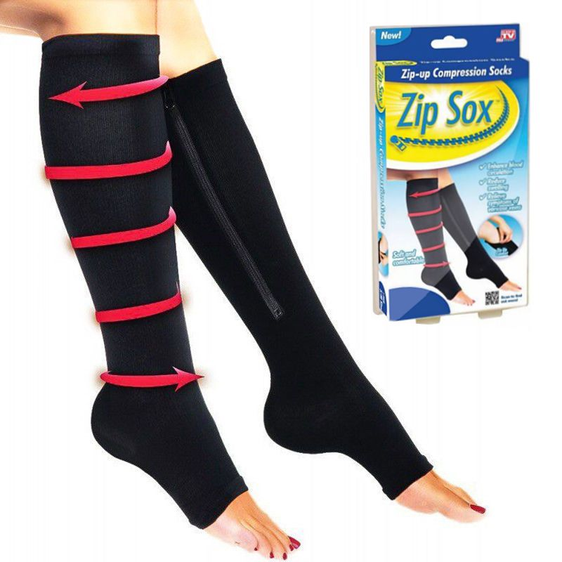 Компрессионные Гольфы Zip Sox (Зип Сокс), Цвет Черный, Размер L/XL