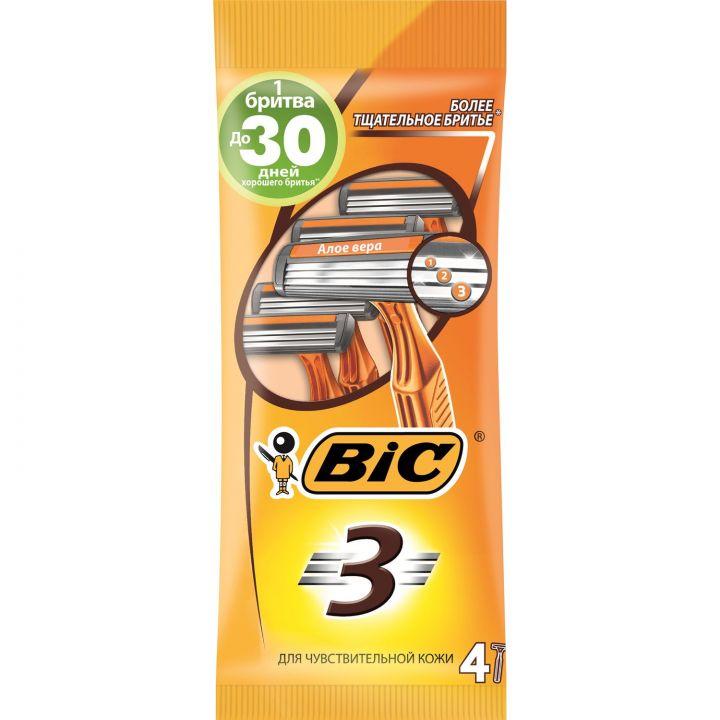 Бритва БИК-3  для чувствительной кожи 4шт в уп.