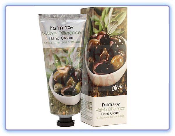 Крем для рук с экстрактом оливы FarmStay Visible Differerce Hand Cream Olive