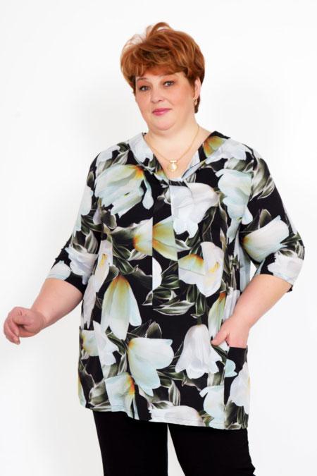 "Блуза ""Триана"" тюльпаны, креп"