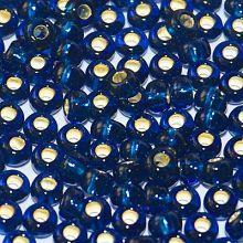 Бисер чешский 67100 темно-синий прозрачный серебряная линия Preciosa 1 сорт
