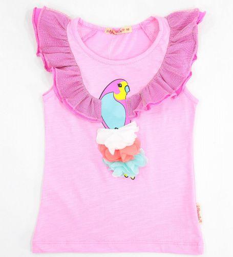 Футболка для девочек 3-7 лет Bonito розовая с попугаем