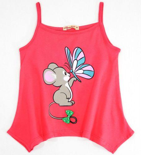 Майка для девочек 3-7 лет Bonito красная с мышонком