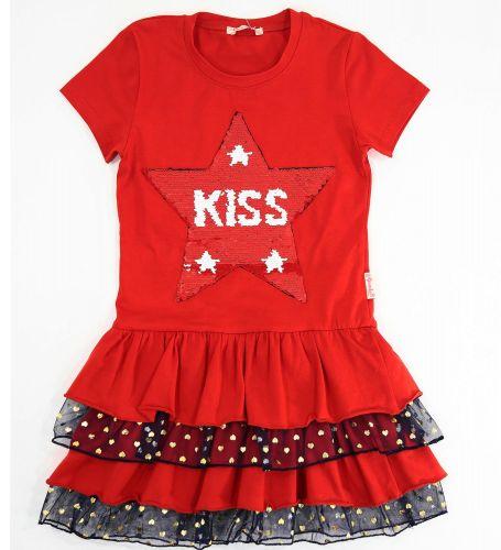 Платье на девочек 5-8 лет Bonito красное star