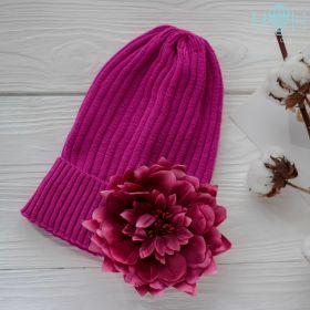 HOH ШД19-17911157 Шапка вязаная с подворотом бордовый цветок, сиреневый