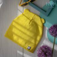 HOH ШЛ19-04054728 Шапка однослойная трикотажная мишка с нашивкой звездочка, желтый