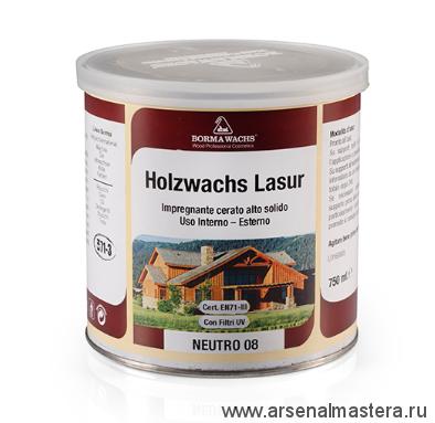 Декоративная ВОСКОВАЯ лазурь Holzwachs Lasur 750 мл 3320 Borma цв. 02 натуральный дуб