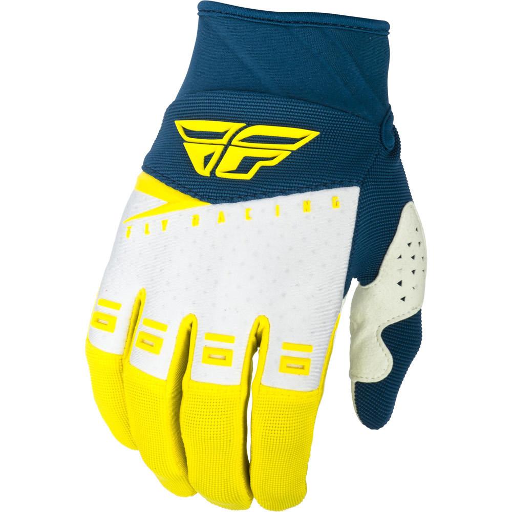 Fly Racing - 2019 F-16 Yellow/White/Navy перчатки, желто-бело-синие