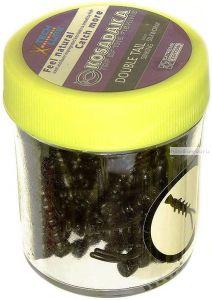 Силиконовая приманка Kosadaka Двухвостка тонущая  18гр / цвет: черный (запах шелк. червя)