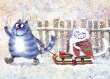 Почтовая открытка Зимушка
