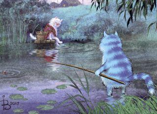 Почтовая открытка На речке, на речке, на том бережочке...