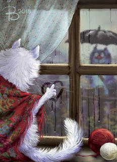 """Почтовая открытка Почтовый роман. """"Сбегают капли по стеклу"""""""