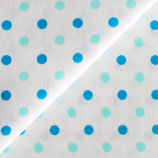 Ткань Хлопок Голубой горох на белом 50x40
