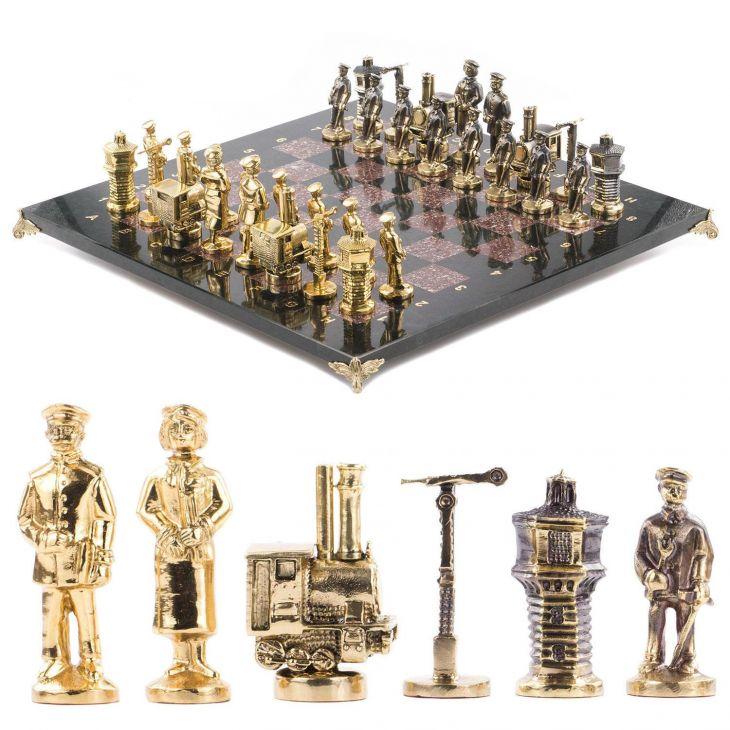 Шахматы Железнодорожники, креноид, змеевик, бронза