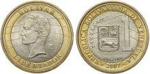 Венесуэла - монета - 1 Боливар 2007 - БИМЕТАЛЛ