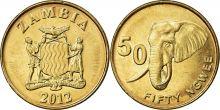Монета Замбия 50 нгве 2012 год. Саванный слон.