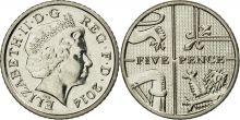 Монета 5 пенсов 2014 года Великобритания
