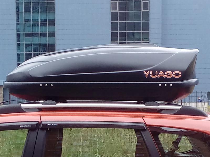 Автомобильный бокс на крышу YUAGO Optima, 390 литров, черный матовый