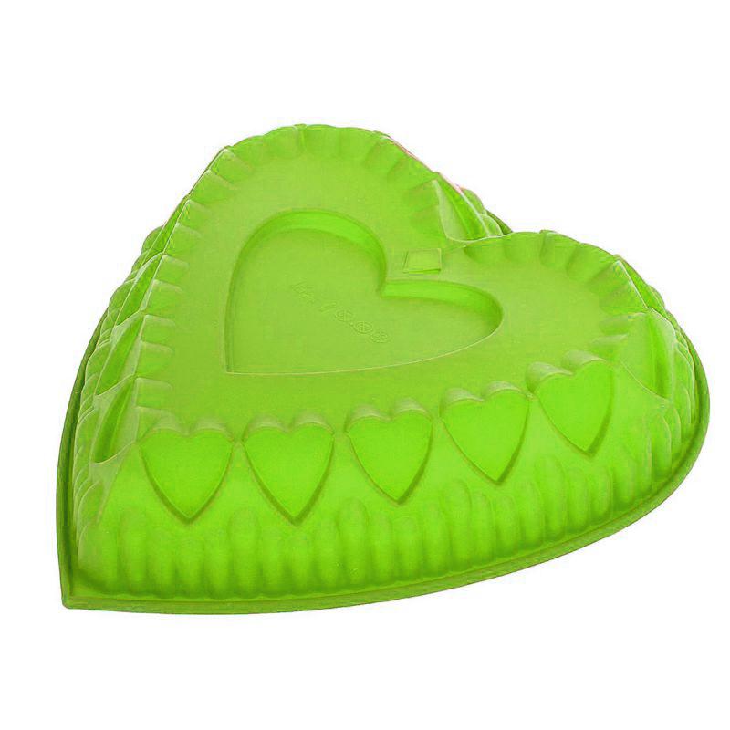 Силиконовая форма для выпечки Сердце (цвет зелёный)
