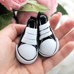Обувь для кукол Кеды 5 см на шнурках (черные)