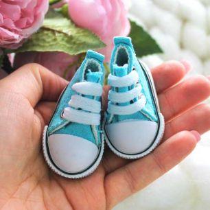 Обувь для кукол Кеды 5 см на шнурках (голубые)