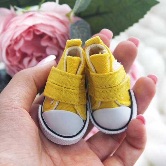 Обувь для кукол Кеды 5 см на липучках (желтые)