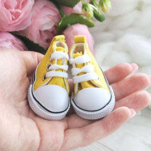 Обувь для кукол Кеды 5 см на шнурках (желтые)